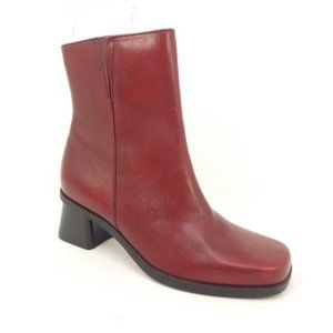Naturalizer Red Leather Chunky Heel Ankle Boots